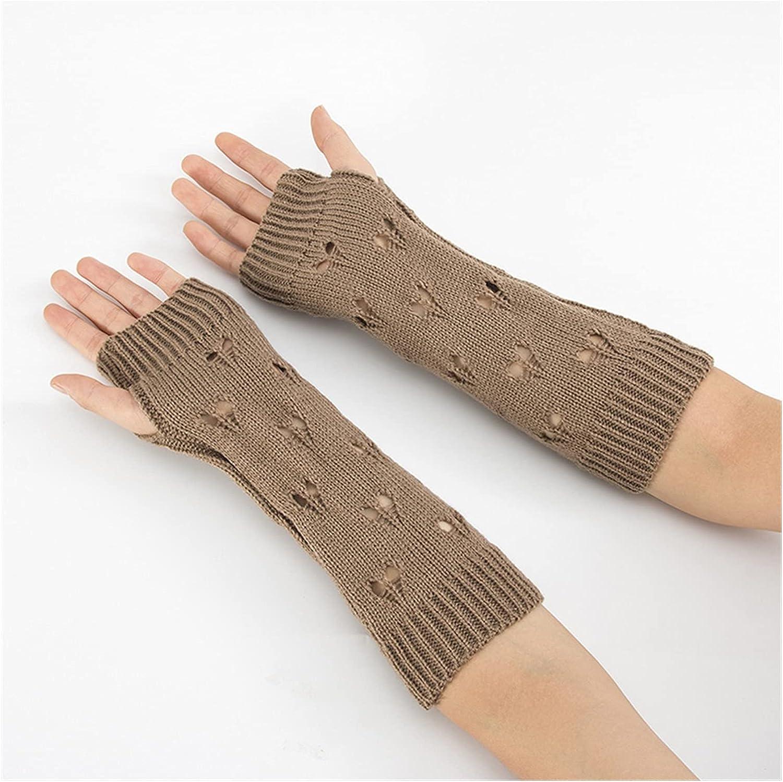 CHHNGPON Ladies Gloves Women Gloves Stylish Hand Warmer Winter Gloves Women Arm Crochet Knitting Hollow Heart Mitten Warm Fingerless Gloves (Color : Khaki, Gloves Size : One Size)