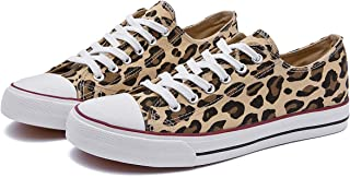 ZGR Women's Canvas Low Top Sneaker Lace-up Classic Casual Shoes Black and White