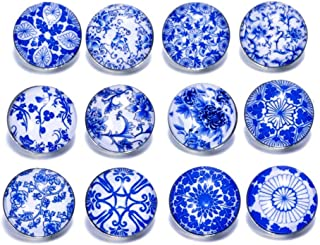 Soleebee 12 pcs Round Aluminum Glass 18mm Snap Button Jewelry Charms for Interchangeable Snaps Jewelry Making (Blue and White Porcelain)