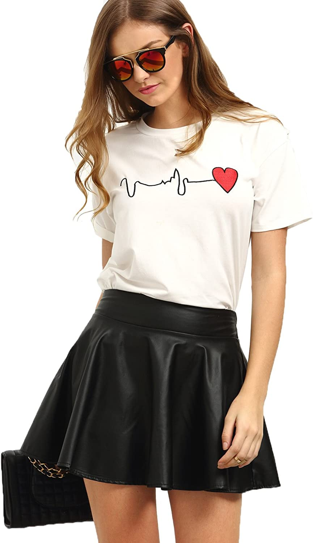 Milumia Women's Cute Print Round Neck Short Sleeve Tee Shirt
