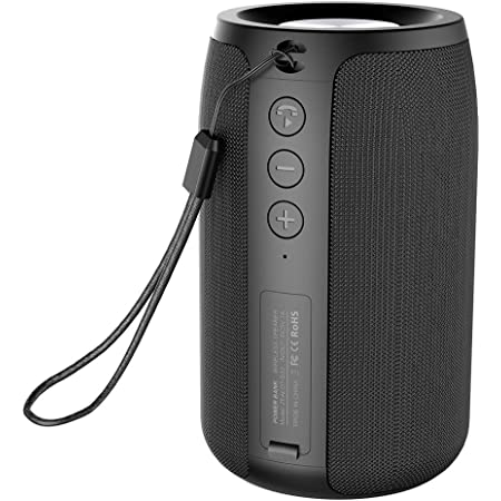 Portable Bluetooth Speakers Mini, Zealot S32, TWS Outdoor Wireless Speaker, IPX5 Waterproof, Upto 12H Playtime, Microphone, TF Card, USB, AUX, for Home&Outdoor, Competible for iOS Andriod Black