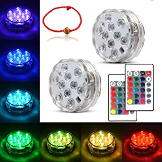 Underwater Submersible LED Lights Waterproof Multi Color Battery Operated Remote Control Wireless LED Lights for Hot Tub,P...