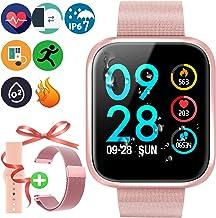 Brazalete Táctil Inteligente de Color de Alta definición con Monitor de frecuencia cardíaca IP67 Impermeable y Resistente al Polvo Reloj Deportivo de Moda para iOS Android Smartphones,P70 Oro Rosa