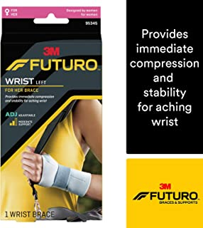 Futuro for Her Slim Silhouette Wrist Support, Moderate Stabilizing Support, Adjust to Fit, Left Hand