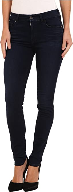 7 For All Mankind - Slim Illusion LUXE Midrise Skinny w/ Contour Waistband in Rich Blue