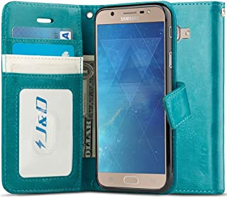 J&D Case Compatible for Galaxy J7 Max Case, [Wallet Stand] [Slim Fit] Heavy Duty Shockproof Flip Cover Wallet Case for Samsung Galaxy J7 Max Wallet Case - [NOT for Galaxy J7 2017 / J7 Prime] - Aqua