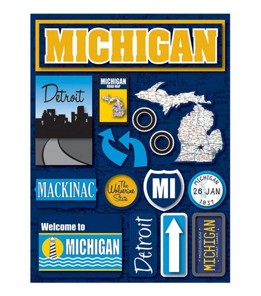 Reminisce Jet Setters Self-Adhesive Epoxy Embellishments-Michigan