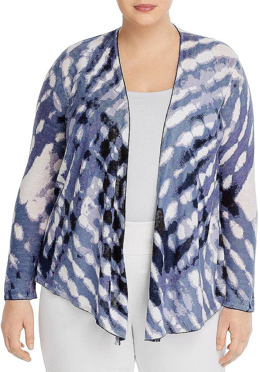NIC+ZOE Womens Plus Hazy Days Linen Blend Asymmetric Cardigan Sweater