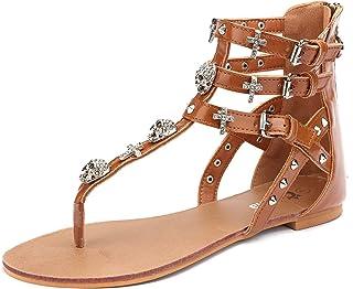 Womens Flat Sandals Skull Rhinestone Gladiator Thong Dressy Sandals Brown Zip