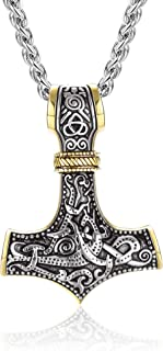 Adramata Nordic Amuleto da Uomo Martello di Thor Mjolnir Collana con Ciondolo Collana in Acciaio Inossidabile Vichingo Gio...