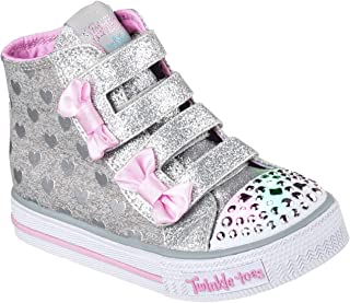 Skechers Infant Girls Doodle Days Twinkle Toes Trainers in Grey Pink- Hook and