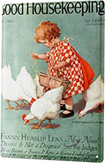 Tin Sign Children Wall Decor little girl feeding the chickens Metal Plate 8X12