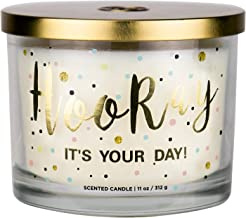 "Aromascape PT41416  ""Hooray it's Your Day"" 3-Wick Scented Candle (Vanilla.."