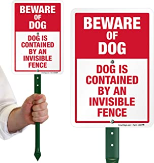 "SmartSign Beware of Dog Sign, Dog Contained by an Invisible Fence Sign for Yard, Lawn| 21"" Bend-Proof Stake & Metal Sign Kit, 10x7 Inch, Aluminum"