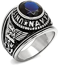 KONOV Mens Cubic Zirconia Stainless Steel Ring, United States Navy Military, Blue