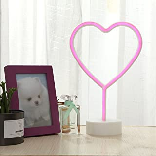 Heart Neon Lights GUOCHENG Decor Light Led Night Light Wall Table Decor Battery Operated Creative Lighting Lamp Home Decoration Party Decoration Gift for Kids(Pink Heart)