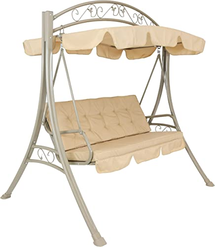 new arrival Sunnydaze Deluxe Outdoor Patio Swing with Adjustable Canopy - 3-Person Covered Porch Swing outlet sale with Removable Canopy online and Tufted Cushions - 600-Pound Weight Capacity - Aluminum and Polyester - Beige sale