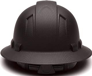 Full Brim Hard Hat, Adjustable Ratchet 4 Pt Suspension, Durable Protection safety helmet, Graphite Pattern Design, Black Matte, by AcerPal