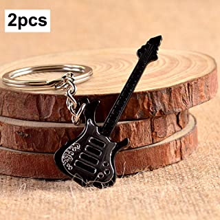 KeoKasu - 2Pcs Keychain Guitar Metal Zinc Alloy Pendant Keyring Key Holder Personalized Gift for Men Women Boyfriend