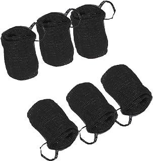 Premium Bath Shower Loofah Sponge Pouf Body Scrubber Black Mesh Unisex Exfoliator Bulk (6-Pack)