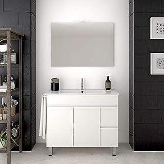 DUCHA.ES Mueble DE BAÑO con Lavabo, Toallero Y Espejo Blanco con Aplique LED Varias Medidas (80CM)