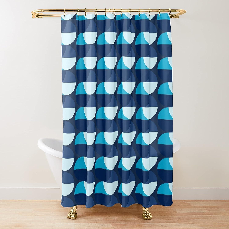 Japan Maker New Mid Century Modern Omaha Mall Blue Geometric Shower Pattern Fabric Concept