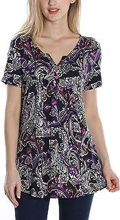 e79d0b222d5 TrendiMax Women Vintage V Neck Paisley Tunic Blouse Plus Size Short Sleeve  Button-up Flowy