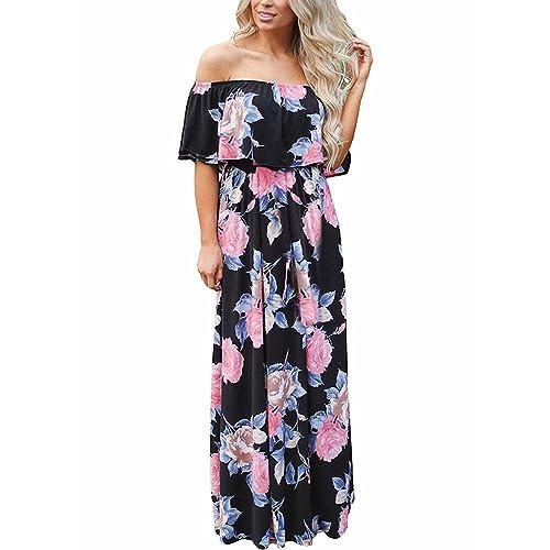 3d03294edd2ef FIYOTE Womens Off Shoulder Floral Ruffle Long Maxi Dresses