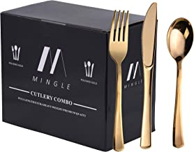 300 Pieces Gold Disposable Plastic Silverware - Plastic Cutlery Set - Heavyweight Flatware Set - 100 Forks, 100 Spoons, 100 Knives (Deluxe)