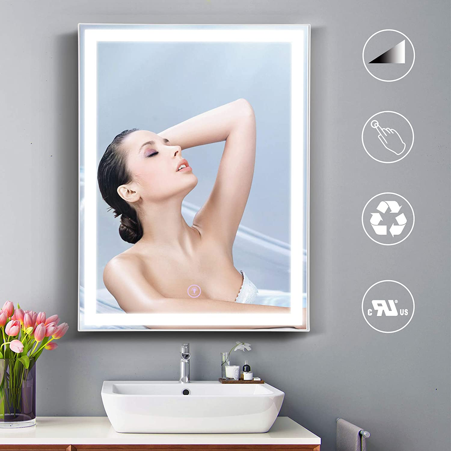 OOWOLF LED Directly managed store Bathroom Mirror with Lights Dim 32x24 - Our shop OFFers the best service Anti-Fog Inch