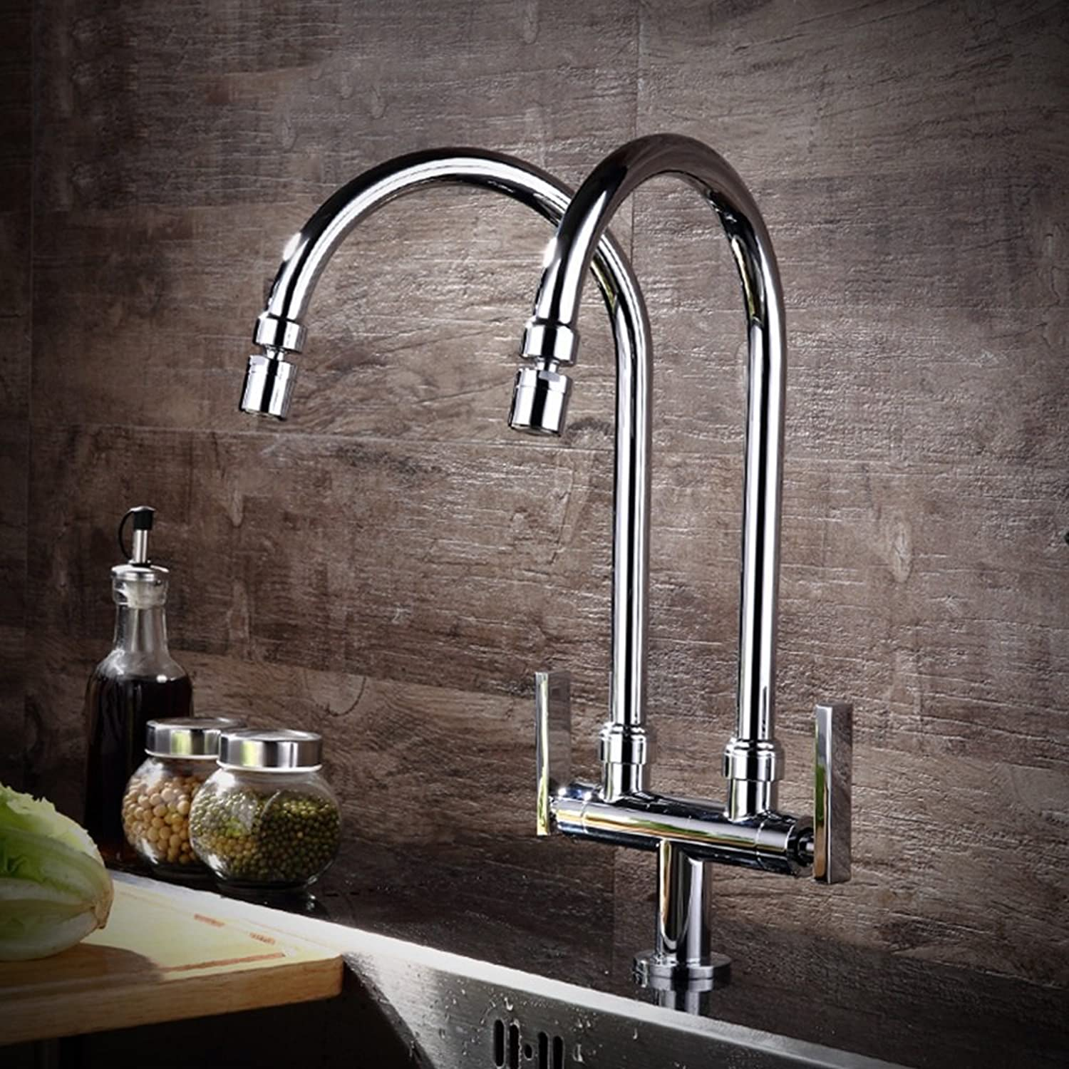 Kitchen faucet single cold double tube double outlet faucet vegetable bowl sink can redate universal taps ( Style   B2 )