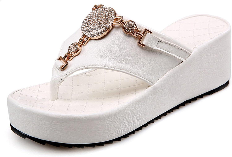 Dasha Hubfam Flip Flops shoes Women White Platform Beach Sandals Black Rhinestone Slippers 2017