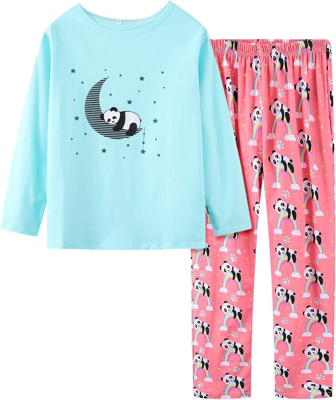 Cute Cat Pajamas for Girls Size 12-18 Big Kids Long Sleeve and Pant Teens PJS Clothes Sleepwear 2PCS Set