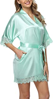 Old-Times Women Satin Short Robes for Bridesmaid Bride Sexy Nightgown Lace Trim Lightweight Bathrobe