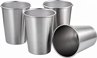 Sponsored Ad - TDGOM 4 pack 12oz stainless steel cups shatterproof pint drinking cups metal drinking glasses for kids and ...