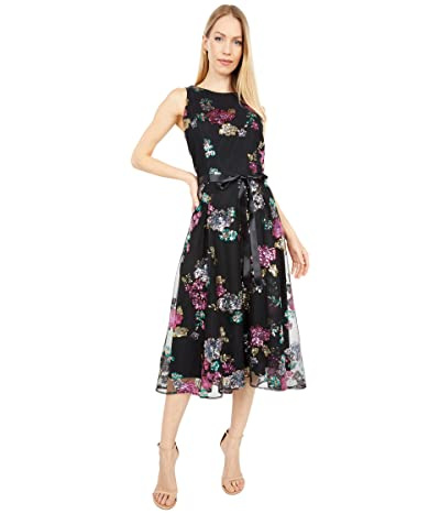 Tahari by ASL Stertch Sequin Midi Halter Dress with Hi Low Hemline (Black/Pink Sequin) Women