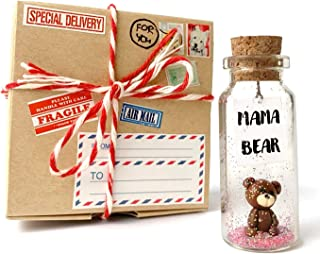 Mama Bear Classy Decorative Present - Figurine and Message in a Bottle for Moms Birthday - Mother's Day Gift Idea (in a Co...