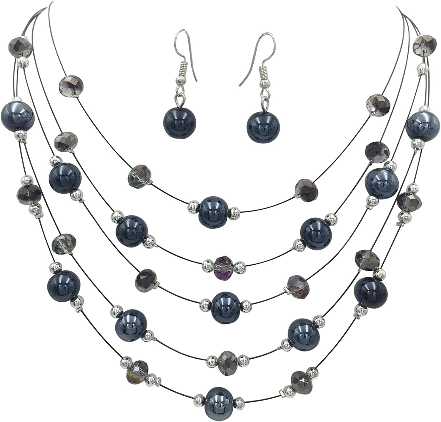Gypsy Jewels Multi Row Beaded Illusion Wire Lightweight Necklace and Dangle Earring Set