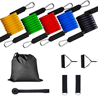 Resistance Bands Set, (11Pcs) Home Gym Exercise Bands 5 Resistance Loop Bands with Door Anchor,2 Handles,2 Legs Ankle Stra...