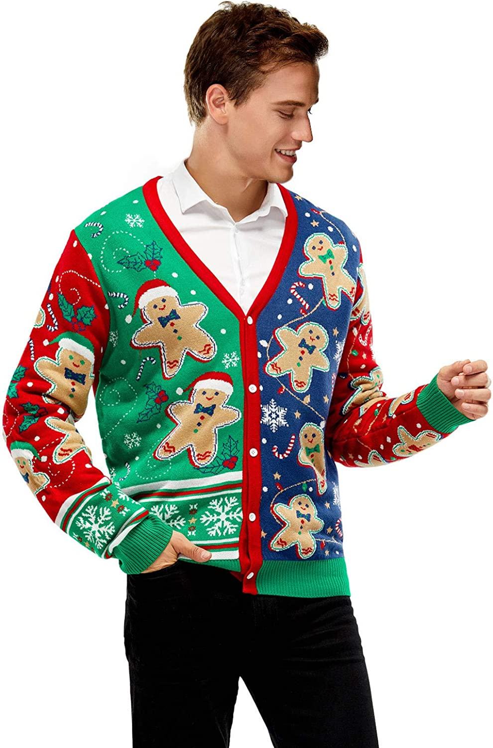 Unisex Men's Ugly Christmas Cardigan Sweater Reindeer Santa Snowman Knitted Funny Pullover for Men