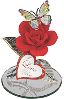 Glass Baron Butterfly with Red Rose