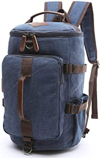 BAOSHA HB-26 Canvas Men Weekend Travel Duffel Bag Backpack Hiking Rucksack (Blue)