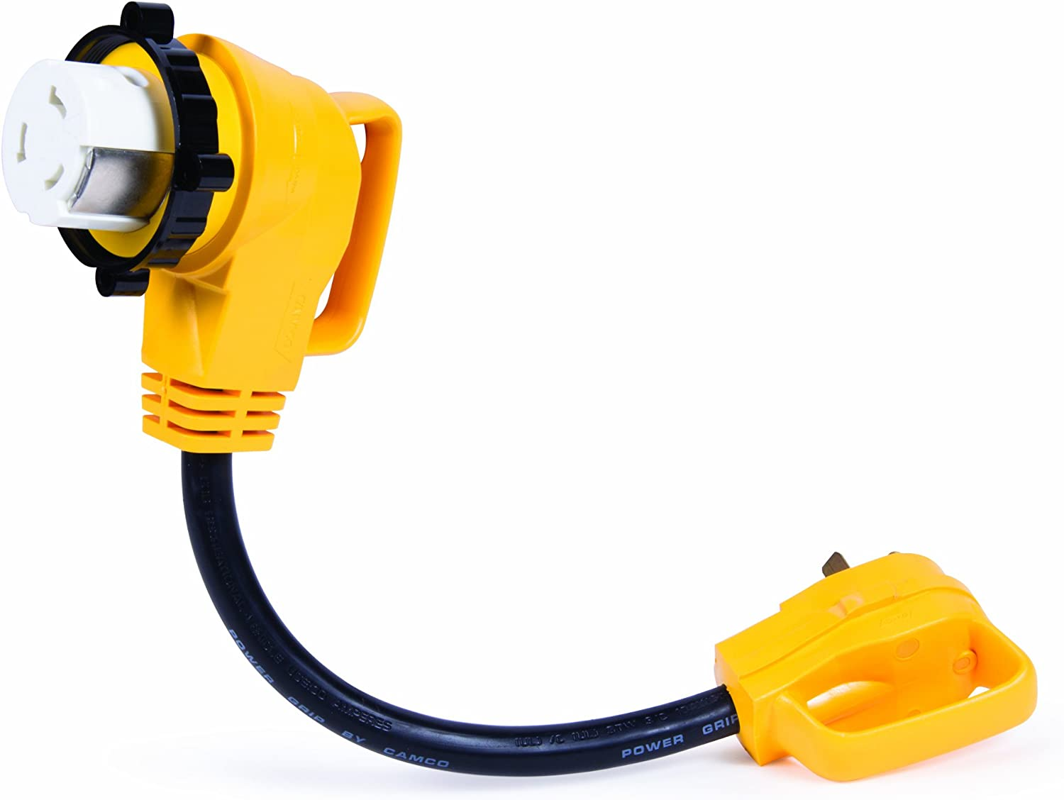 Camco 55582 Power Grip 18  90 Degree Locking Electrical Adapter