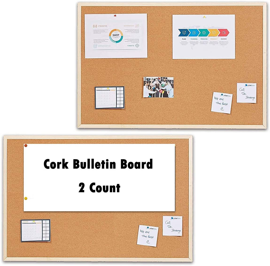 """MYOYAY Cork Bulletin Board, 35""""x 23"""" Cork Quartet Bulletin Board with Wooden Frame, Cork Notice Bulletin Board Memo Board for Home, Office and Cubicle(2 Pieces )"""