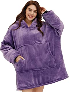 Thick Double-Layered Blanket Hoodie with Big Pocket, Sherpa Lined Oversized Hoodie, Blanket Sweatshirt with Hood for Adul...