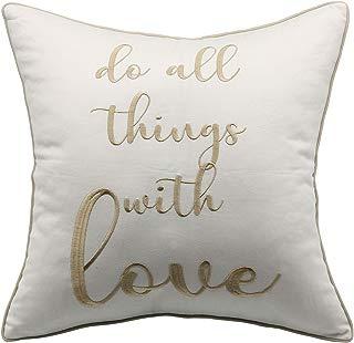 "YugTex Pillowcase Do All Things with Love Pillow,Romantic Pillowcase Quote Pillow,Accent Pillows, Bedding Pillows, Indoor Outdoor Pillows,Valentine Gifts Pillow Ivory Pillow (18""x18"", Do All(Ivory))"