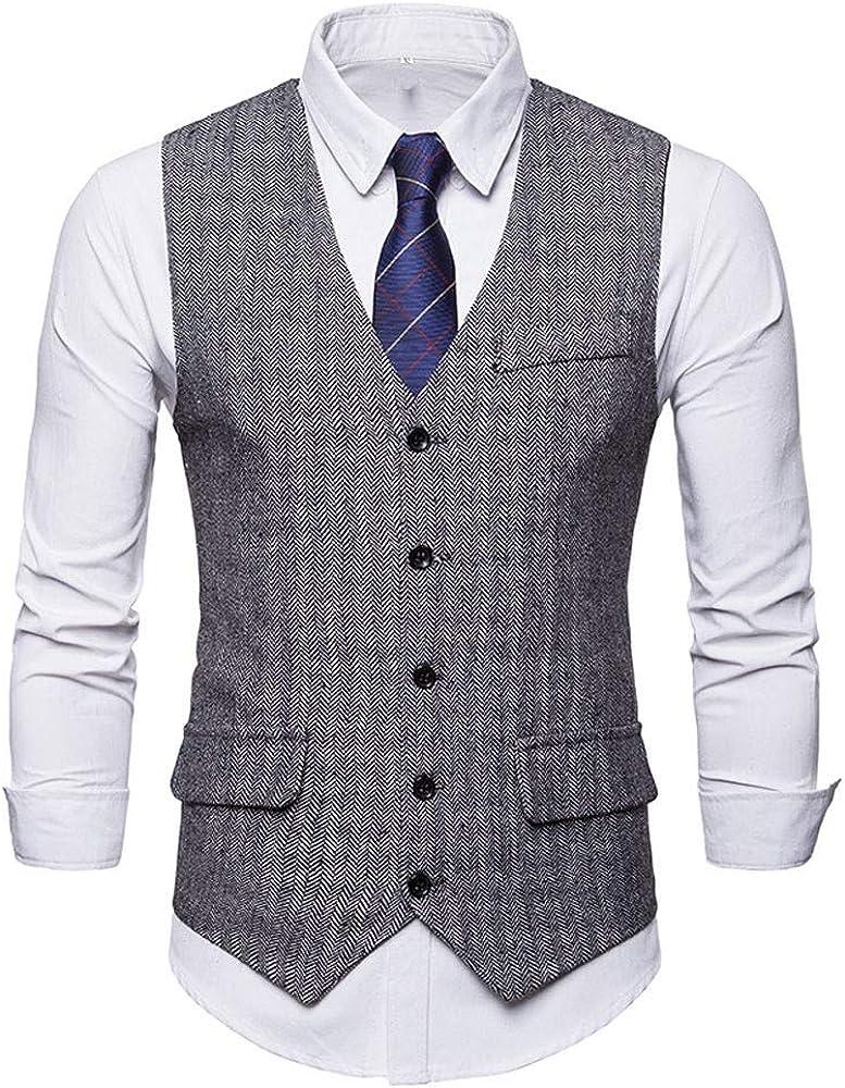MODOQO Men's Formal Business Suit Vest Slim Fit Single Breasted Waistcoat