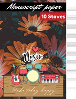 Manuscript paper 10 staves Orange Daisy Flowers in Bloom cover, 10 staves per page 100 pages – Large (8.5 x 11 inches)