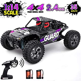 RC Car, 1: 14 Remote Controlled Monster Truck, High-Powered Motor, Rechargeable Battery, Sturdy, Collision Resistant, Waterproof, 2.4 GHz Frequency, All Terrain Electric Toy Car for All Adults & Kids