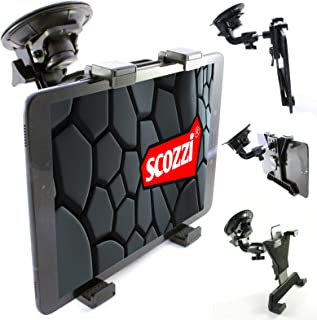 scozzi Tablet Halterung Auto (9cm Saugnapf) Scheibe Halter (universal für 7 11' kompatibel mit Apple iPad, Samsung Galaxy Tab, Huawei MediaPad) 11 4 3 2 S7 S6 S5e S4 A7 A E M6 M5 T5 Lite Air Mini Pro